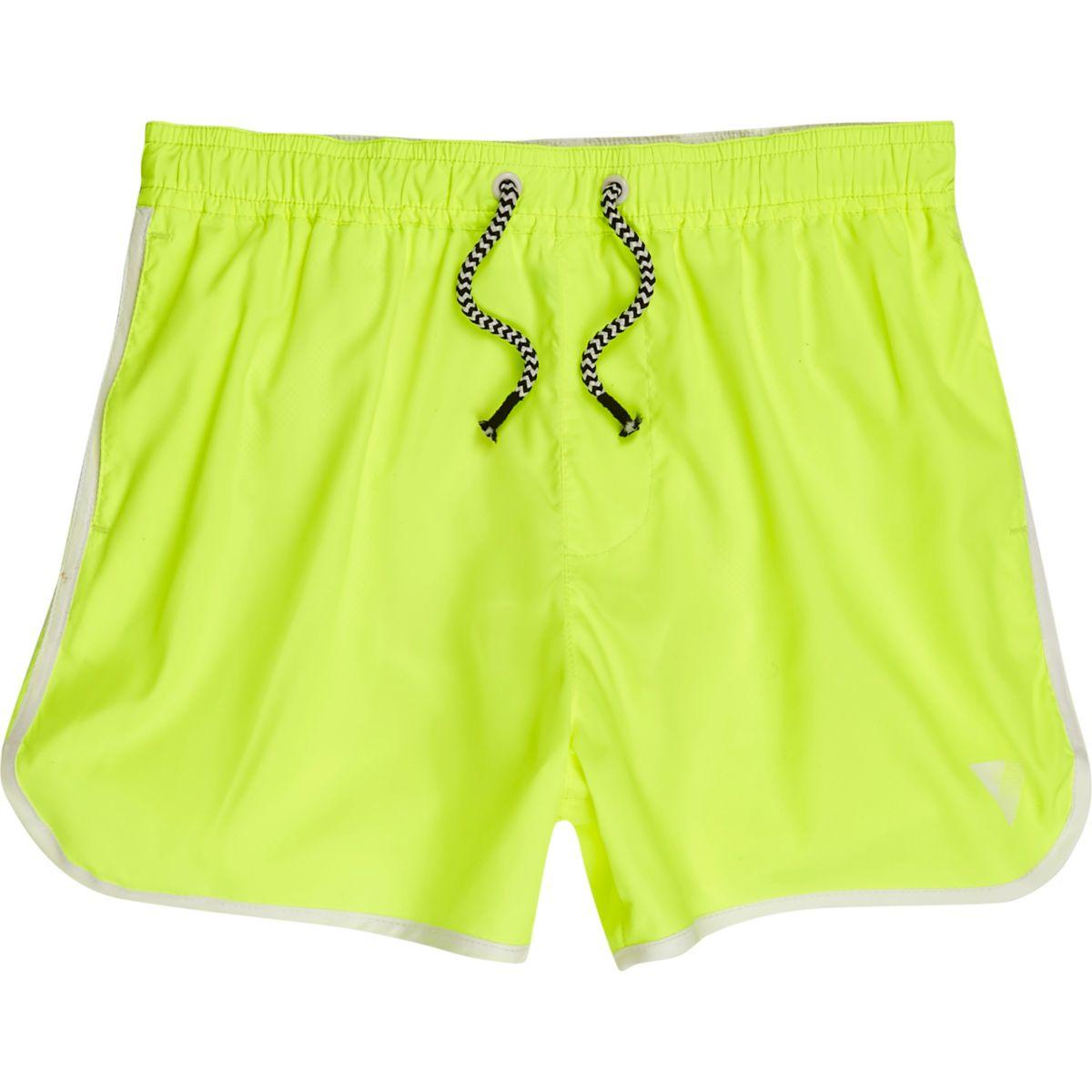 Boys fluro yellow runner swim shorts