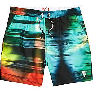 Blauwe zwemshort met vervaagde kleurenprint voor jongens