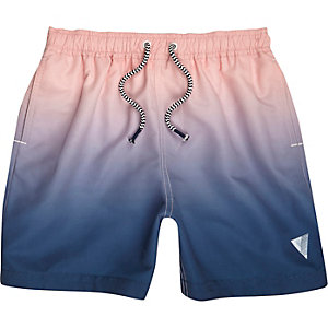 Boys pink and blue dip dye swim shorts