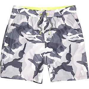 Boys grey camo print swim trunks