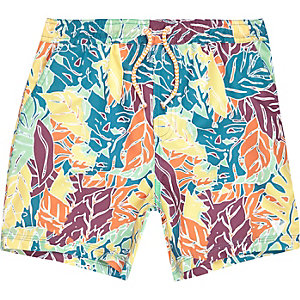 Boys yellow leaf print swim trunks