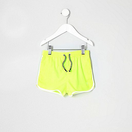 Mini boys fluro yellow runner swim shorts