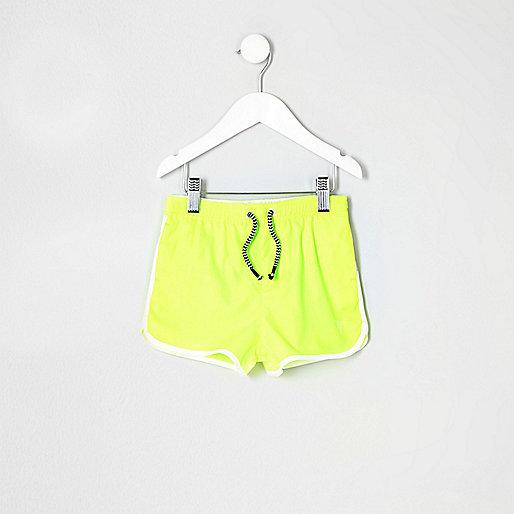 Mini boys fluro yellow runner swim trunks