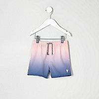 Mini boys blue dip dye swim shorts
