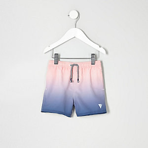 Mini boys blue dip dye swim shorts