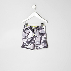 Mini boys grey camo print swim trunks