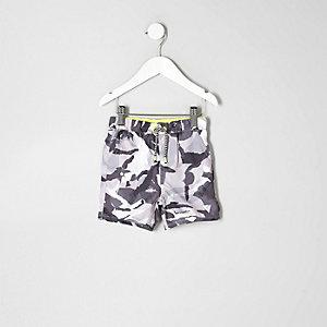 Mini - Grijze zwemshort met camouflageprint voor jongens