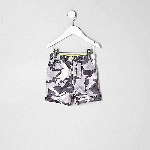 Mini boys grey camo print swim trunks