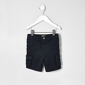 Short bleu marine style cargo mini garçon