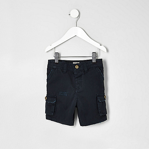 Mini boys navy blue cargo shorts
