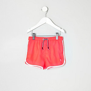 Mini boys fluro coral runner swim shorts