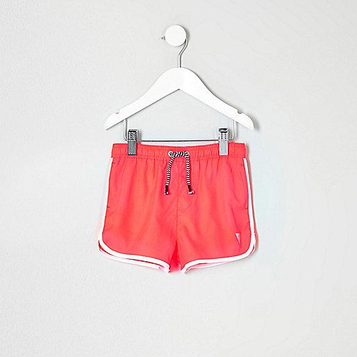 Mini boys fluro coral runner swim shorts