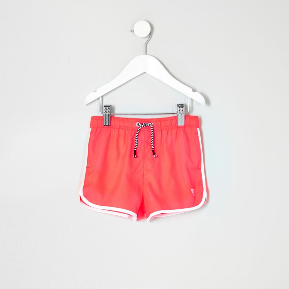 Mini boys fluro coral runner swim trunks