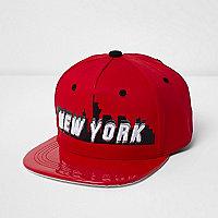 Boys red New York shiny peak cap