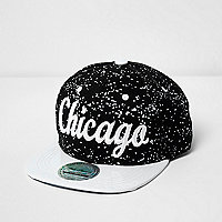 Boys black Chicago print splatter cap