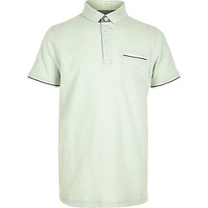 Boys mint green tipped polo shirt