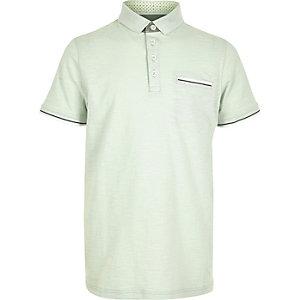 Boys mint green tipped polo shirt