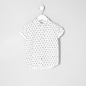 Mini boys white guitar short sleeve shirt