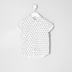 Chemise motif guitare blanc à manches courtes pour mini garçon