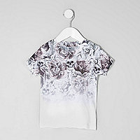 Mini boys skull print fade T-shirt