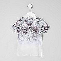 Mini boys skull print fade T-shirt