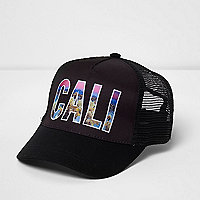 Boys black 'Cali' mesh back baseball cap