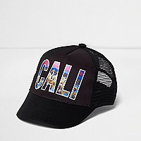 Boys black 'Cali' photographic print cap