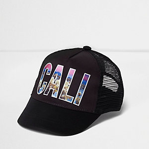 Boys black 'Cali' photographic print cap