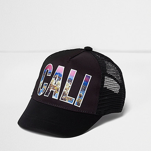 Mini boys black 'Cali' photographic print cap