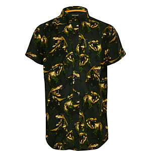 Boys green dinosaur print short sleeve shirt