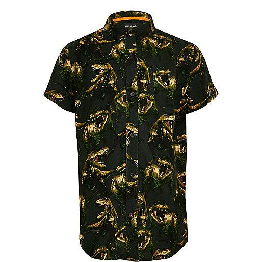 Boys green dinosaur print short sleeve shirt