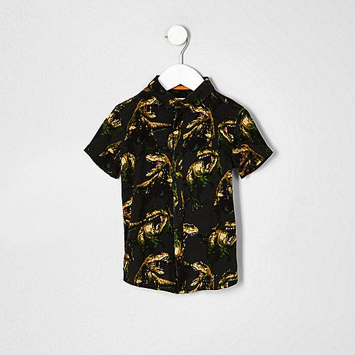 Mini boys khaki dinosaur print shirt