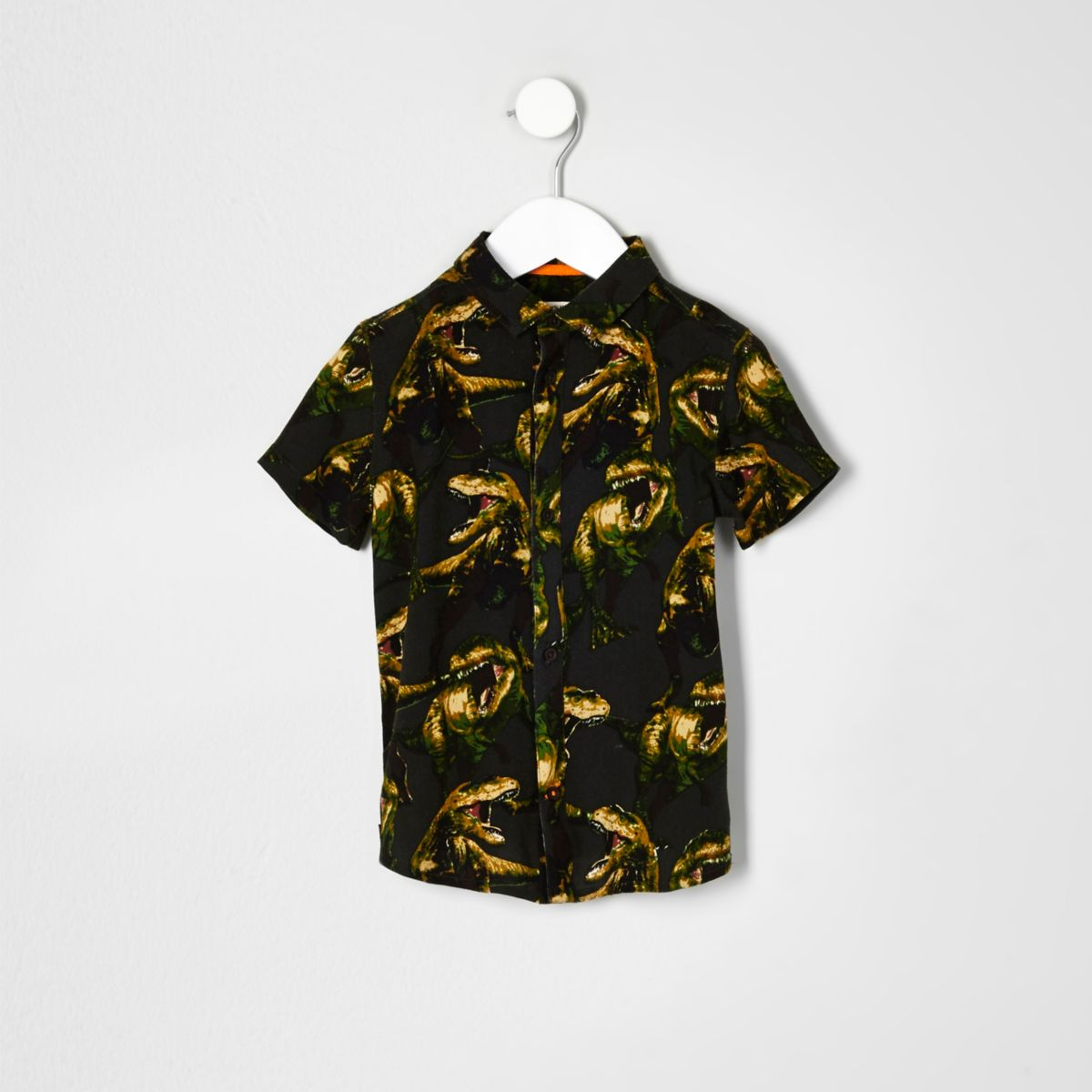 Mini boys khaki dinosaur print shirt