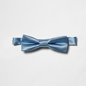 Boys light blue shiny bow tie
