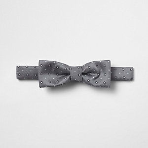 Boys grey diamond print bow tie