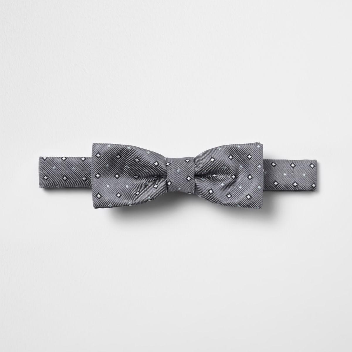 Boys grey diamond print bow tie
