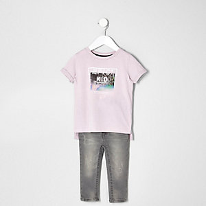 Mini boys pink epic kid T-shirt and jeans set
