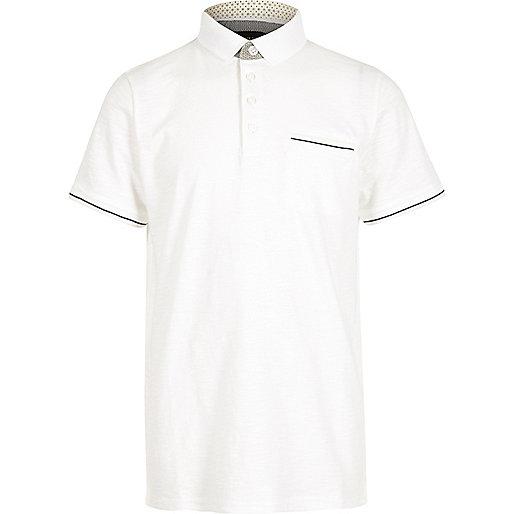 Boys white woven tipped polo shirt
