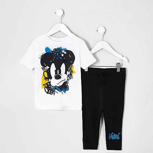 Mini boys white Mickey Mouse print pyjama set