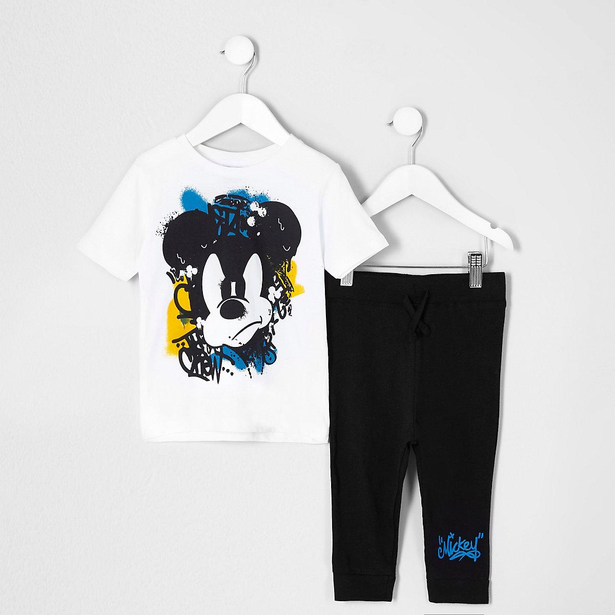 Mini boys white Mickey Mouse print pajama set