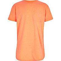 Boys fluro orange curved hem T-shirt