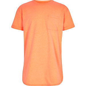 Boys fluro orange curved hem T-shirt