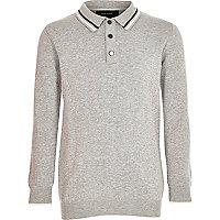 Boys grey knit long sleeve polo shirt