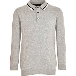 Boys grey knit long sleeve polo shirt