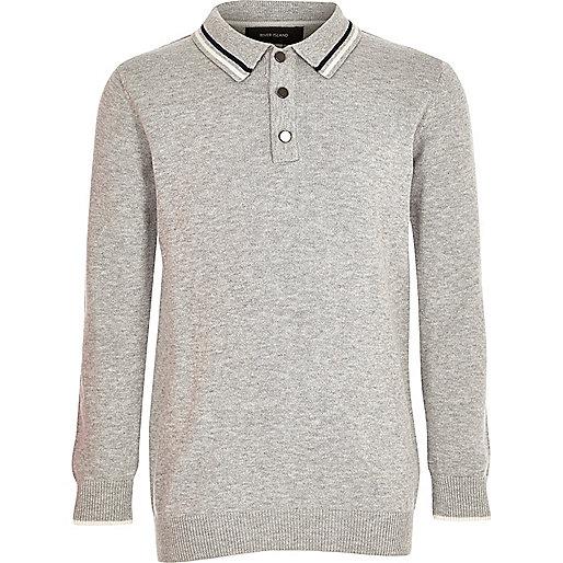 Boys grey knit long sleeve polo shirt polo shirts boys for Long sleeved polo shirts for boys
