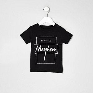 Mini boys black master of mayhem T-shirt