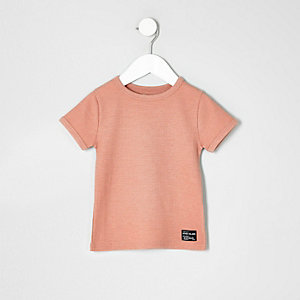Mini boys pink waffle textured T-shirt