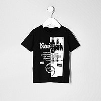 Mini boys spliced 'New York' print T-shirt