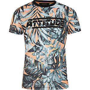 Boys orange palm print 'attitude' T-shirt