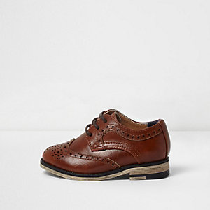 Mini boys brown brogues
